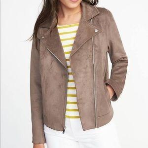 Suede Zip Jacket Old Navy, Brown, Size XS, New